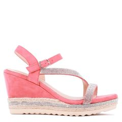 Yoki - Coral High Heel Ankle Strap Espadrille - Side Profile