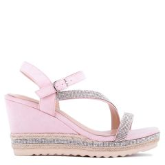 Yoki - Nude High Heel Ankle Strap Espadrille - Side Profile