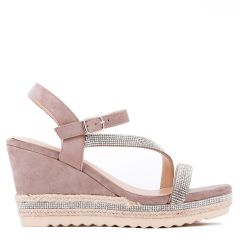 Yoki - Taupe High Heel Ankle Strap Espadrille - Side Profile