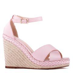 Yolanda - Blush High Heel Ankle Strap Crossover Espadrille - Side Profile