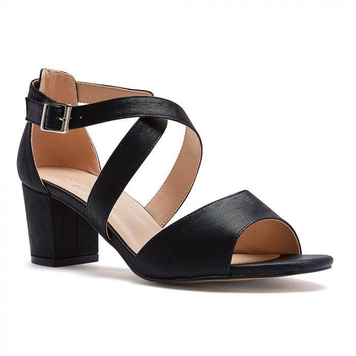 Hadid Wide Fit Black Low Block Heel