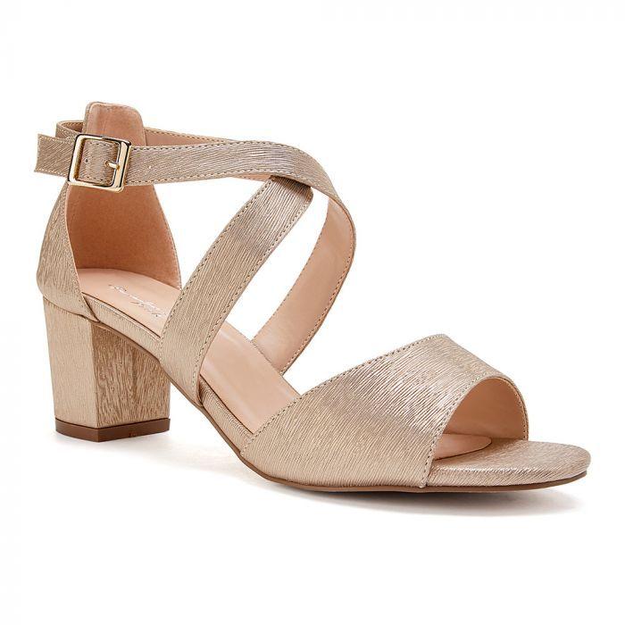 Low Block Heel Cross Strap Sandal