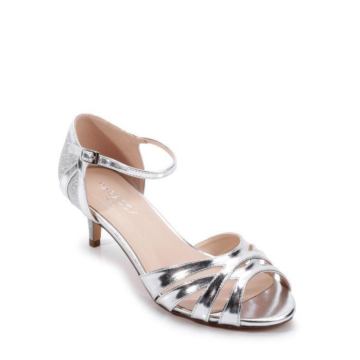 silver glitter wide fit heels