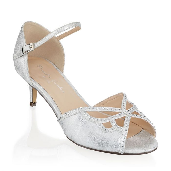 Hisaki Silver Extra Wide Fit Mid Heel