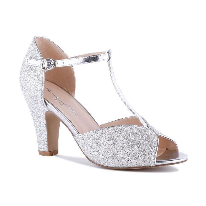 Silver High Heel T-Bar Peep Toe Sandal