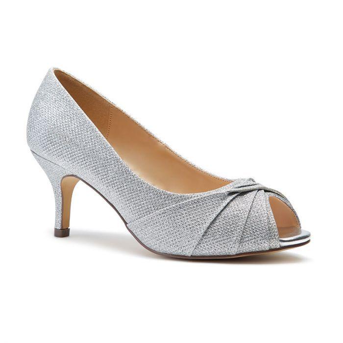 Gabrielle Silver Wide Fit Mid Heel Peep