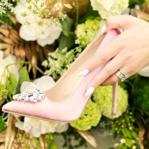 pink blush wedding shoes