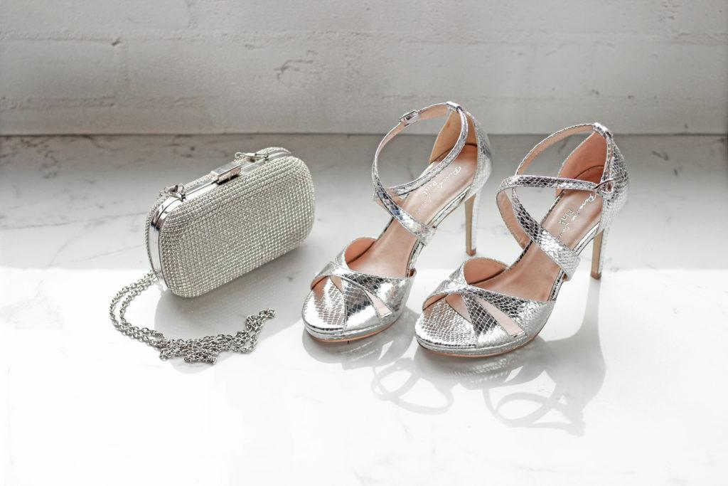 Clutch Bag & Silver Sandals