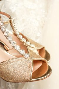 Glitter Sandals with a Peep Toe