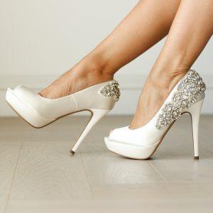 Indulgence Ivory High Heel Peep Toe being worn