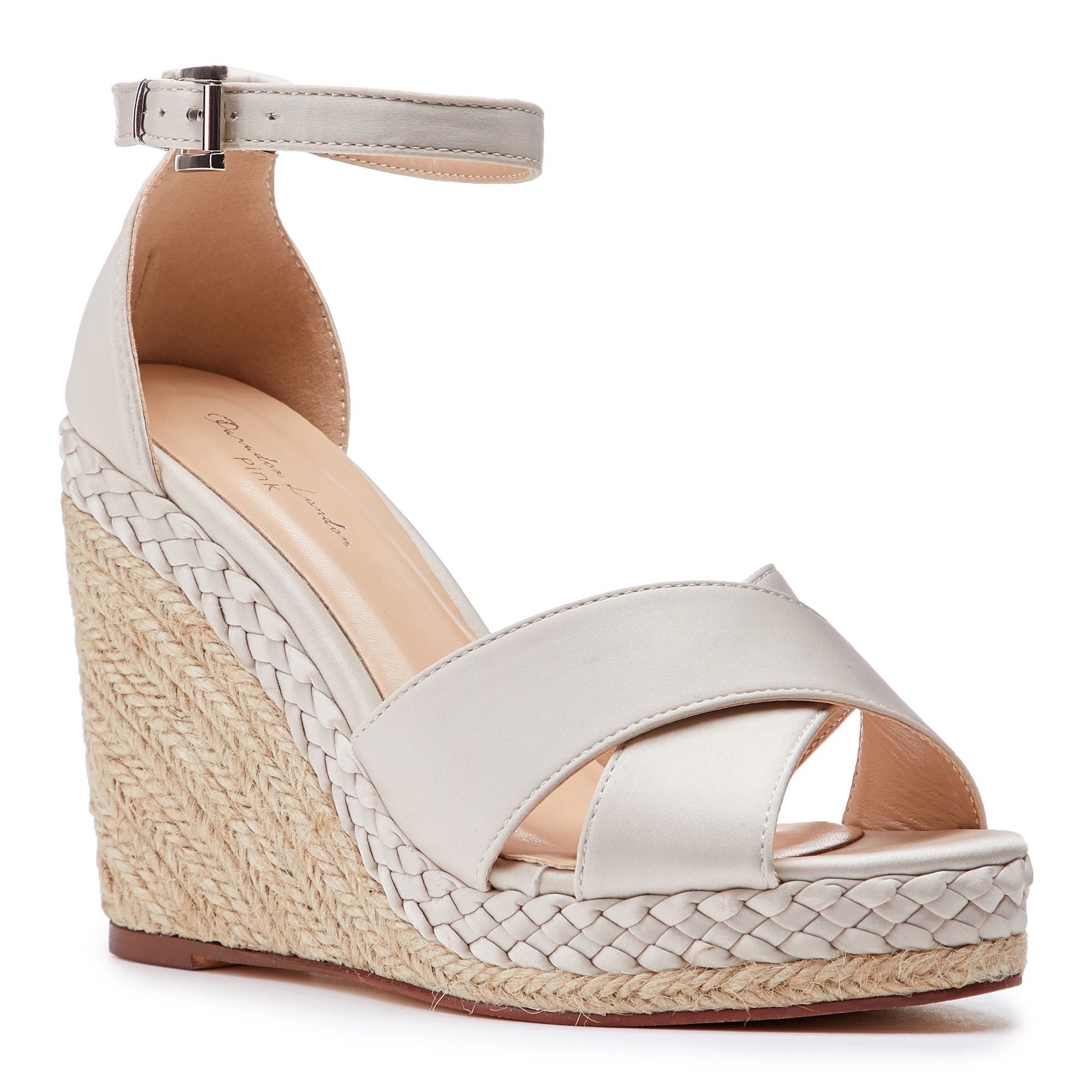65264ca770635 Yolanda Champagne High Heel Ankle Strap Crossover Espadrille | Wedge  Sandals | Espadrille | Occasion Shoes | Paradox London