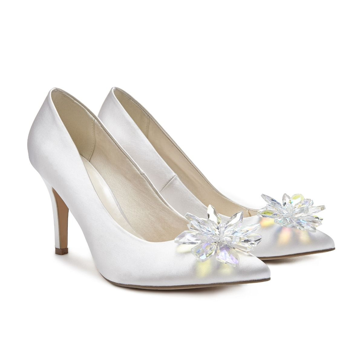 628772d54 Cara High Heel Crystal Flower Ivory Court Shoe | Court Shoes | Wedding Shoes  | Paradox London