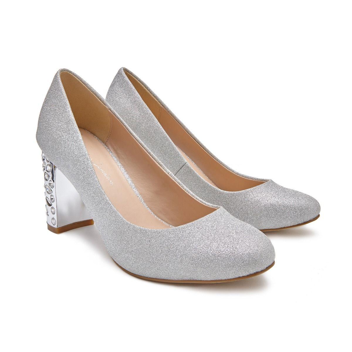 fe653fad356 Codee Mid Crystal Block Heel Silver Court Shoe