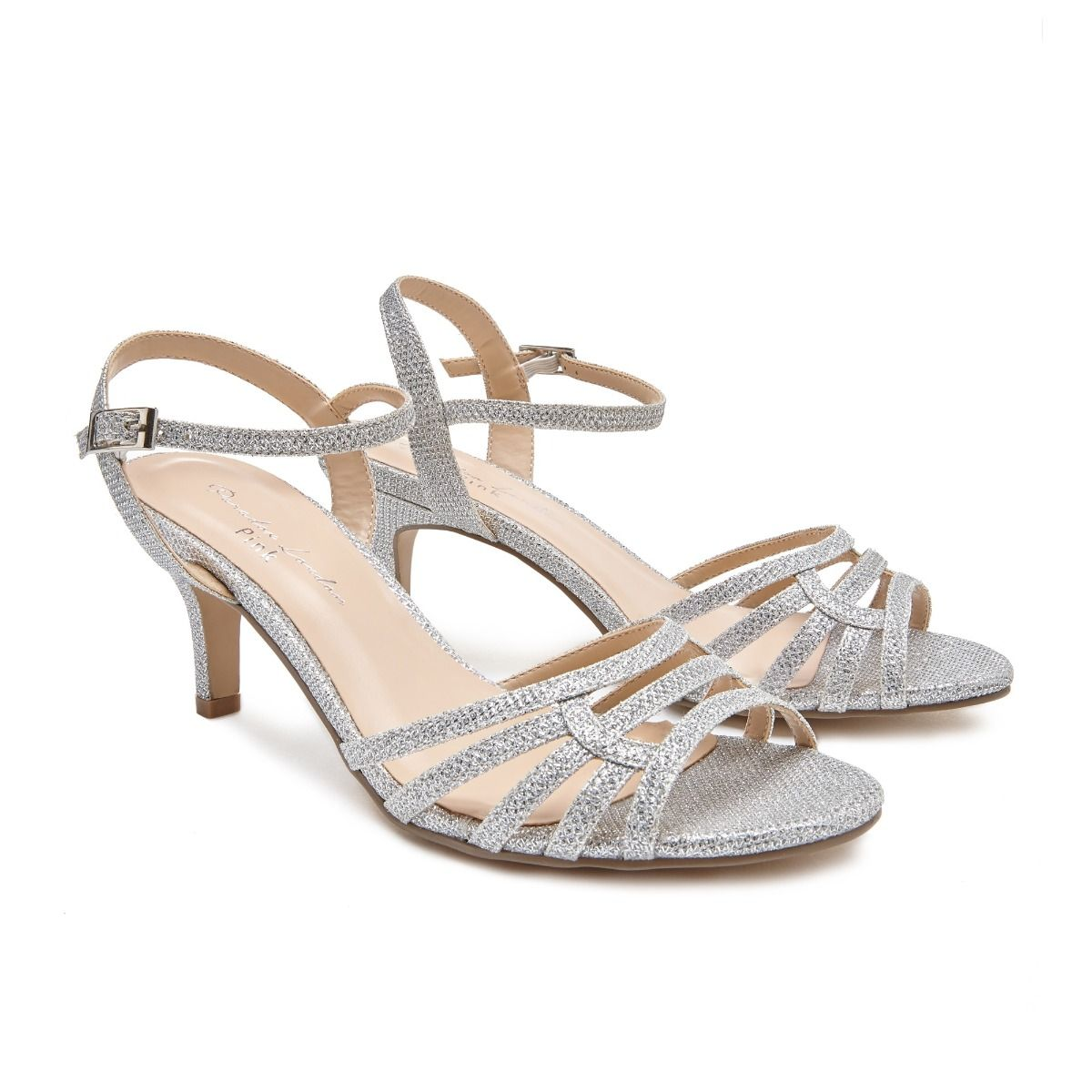 c2cf6226c0 Laurie Wide Fit Silver Glitter Strappy Sandal | Low Heel Wide Fit Sandals |  Ladies Shoes | Paradox London
