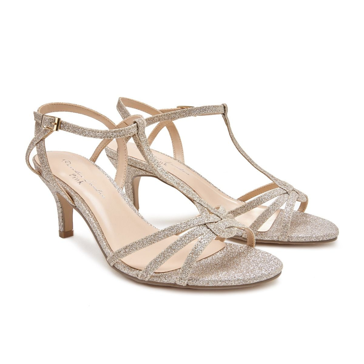 d4a9e8b4f71 Lennon Wide Fit Mid Heel Champagne Shimmer Sandal