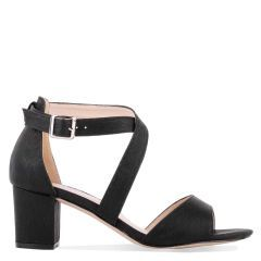 Hadid - Wide Fit Black Low Block Heel Cross Strap Sandal - Side Profile