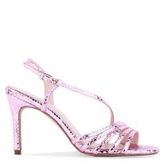 Hailey - Pink High Heel Snake Print Caged Sandal - Side Profile