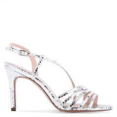 Hailey - Silver High Heel Snake Print Caged Sandal - Side Profile