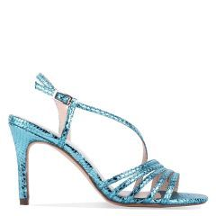 Hailey - Turquoise High Heel Snake Print Caged Sandal - Side Profile
