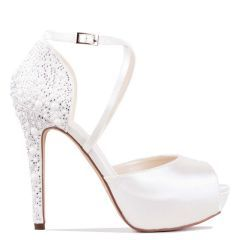 Hallun - Ivory High Heel Platform Peep Toe with Pearl Detail - Side Profile