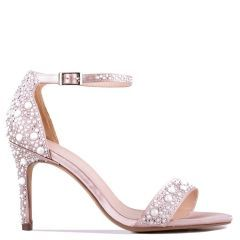 Hampton - Taupe High Heel Barely There Sandal with Pear Detail - Side Profile
