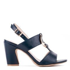 Harding - Navy High Block Heel Sandal - Side Profile