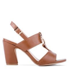Harding - Tan High Block Heel Sandal - Side Profile