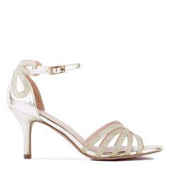 Harley - Wide Fit Champagne Low Heel Caged Sandal - Side Profile
