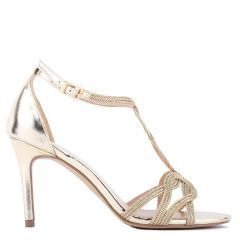 Hilton - Gold High Heel Barely There Knotted Sandal - Side Profile