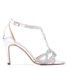 Hilton - Silver High Heel Barely There Knotted Sandal - Side Profile