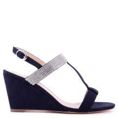 Jacey - Navy Low Heel H-Bar Wedge - Side Profile
