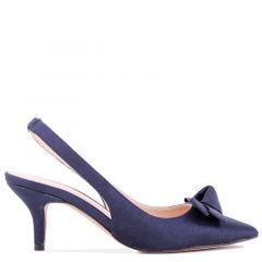 Kaila - Navy Low Heel Slingback with Knot Detail - Side Profile