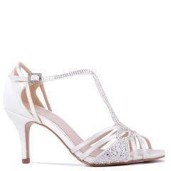 Larissa - Ivory Low Heel Knotted Strappy Sandal - Side Profile