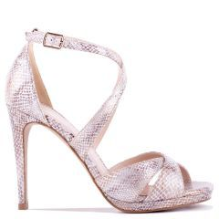 Levi - Beige High Heel Platform Cross Strap Sandal - Side Profile