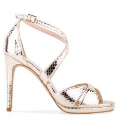 Levi - Gold High Heel Platform Cross Strap Sandal - Side Profile