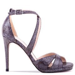 Levi - Pewter High Heel Platform Cross Strap Sandal - Side Profile