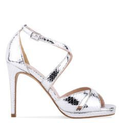 Levi - Silver High Heel Platform Cross Strap Sandal - Side Profile