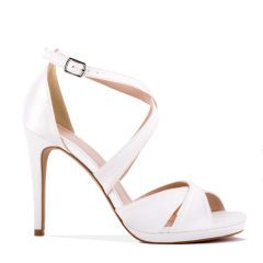 Louis - Ivory High Heel Platform Cross Strap Sandal - Side Profile
