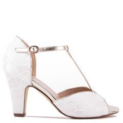 Quentin - Ivory High Heel T-Bar Peep Toe with Lace Detail - Side Profile
