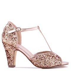 Quincy - Champagne High Heel T-Bar Peep Toe - Side Profile
