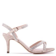 Riva - Champagne Low Heel Ankle Strap Sandal - Side Profile