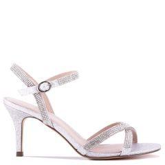 Riva - Silver Low Heel Ankle Strap Sandal - Side Profile