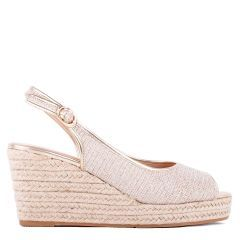 Tania - Champagne High Heel Slingback Espadrille - Side Profile