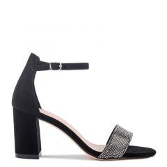 Vanna - Black Low Block Heel Barely There Sandal