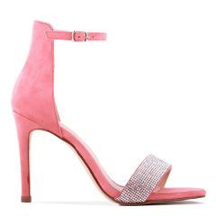 Vista - Coral High Heel Barely There Ankle Strap Sandal - Side Profile