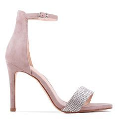 Vista - Taupe High Heel Barely There Ankle Strap Sandal - Side Profile