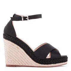 Yolanda - Black High Heel Ankle Strap Crossover Espadrille - Side Profile