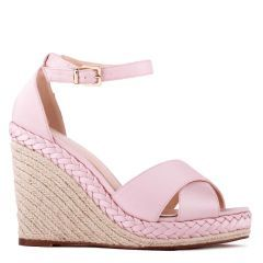 Yolanda - Blush High Heel Ankle Strap Crossover Espadrille - Side Profile