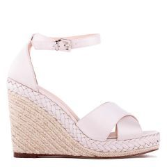 Yolanda - Champagne High Heel Ankle Strap Crossover Espadrille - Side Profile