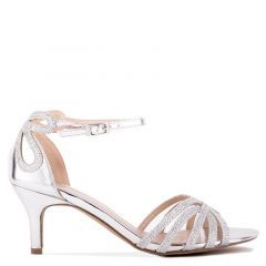Harley - Wide Fit Silver Low Heel Caged Sandal - Side Profile